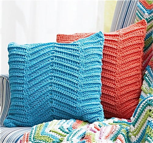 Crocheted Zigzag  Chevron Pillows