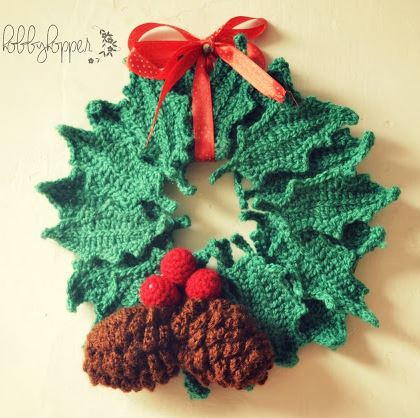 Wintry Pine Cone and Holly Wreath