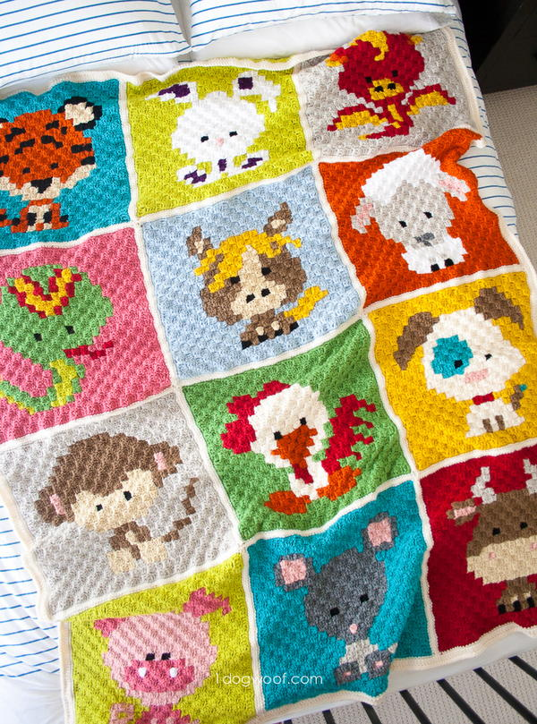 Patchwork Zoodiacs Crochet Afghan