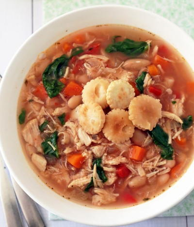 Easy Slow Cooker Tuscan Chicken Soup