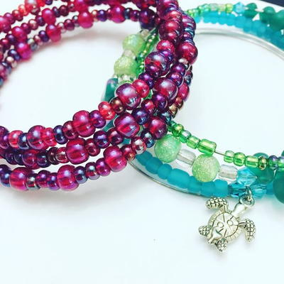 Beaded Memory Wire Wrap Bracelet