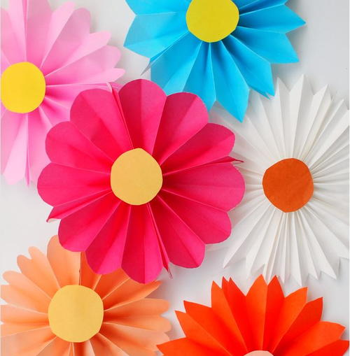 Accordion Fold Paper Flowers for Kids