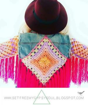 Fringed Crochet Denim Jacket Refashion