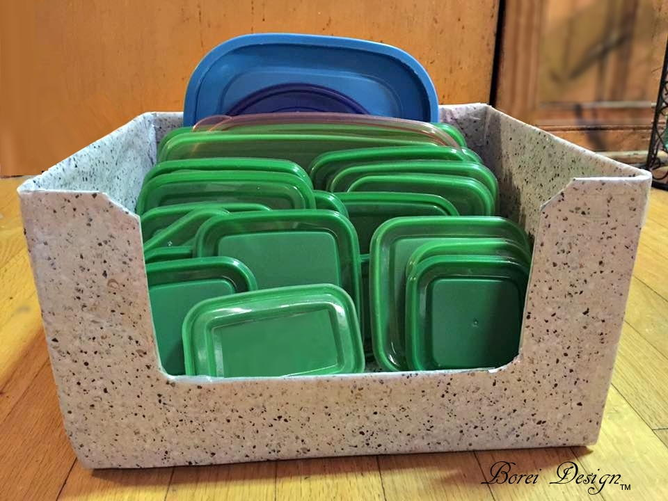 Easy recycled diy food container lid storage solution for Craft storage boxes with lids