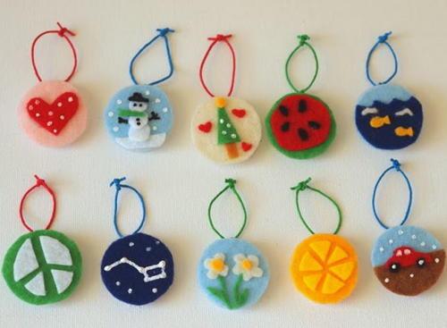 Christmas Ornaments Crafts.Felt Art Christmas Ornament Crafts For Kids