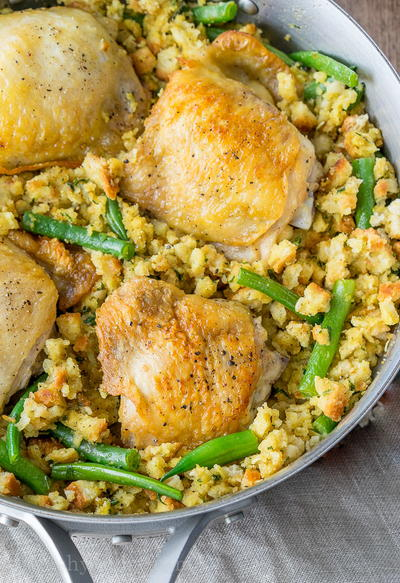 One Skillet Chicken and Stuffing Recipe