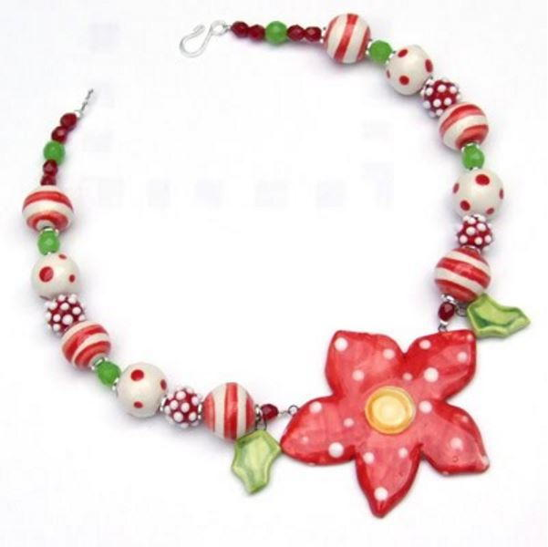 Ceramic Poinsettia Necklace