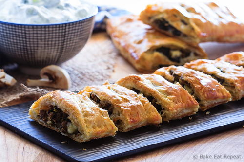 Simple Beef, Spinach and Mushroom Strudel