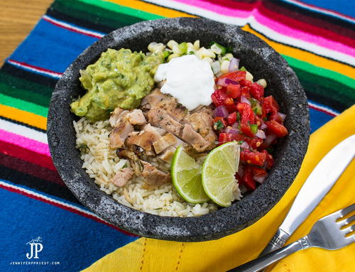 Simple Chicken Burrito Bowl Recipe with Creamy Guacamole