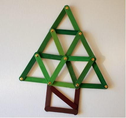 Geometric Popsicle Stick Christmas Tree Ornament Craft ...
