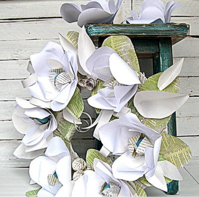 Mixed Material Paper Flower DIY Wreath