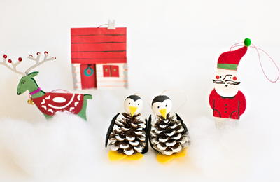 Pine Cone Penguin Kids Ornament Craft