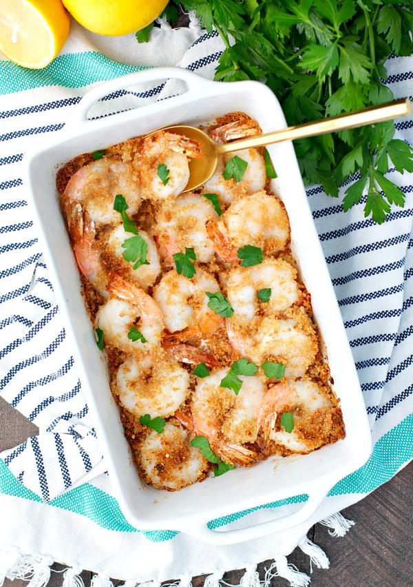 Dump and Bake Crispy Garlic Butter Shrimp