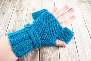 Herringbone Crochet Fingerless Gloves