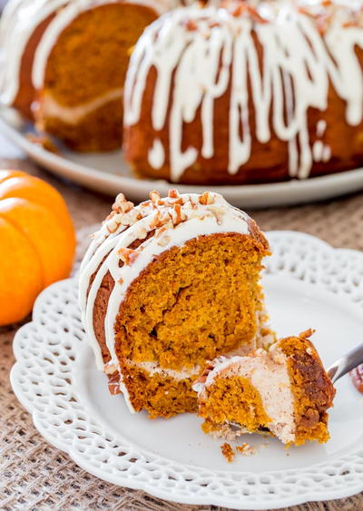 Cream Cheese Pumpkin Swirl Cake