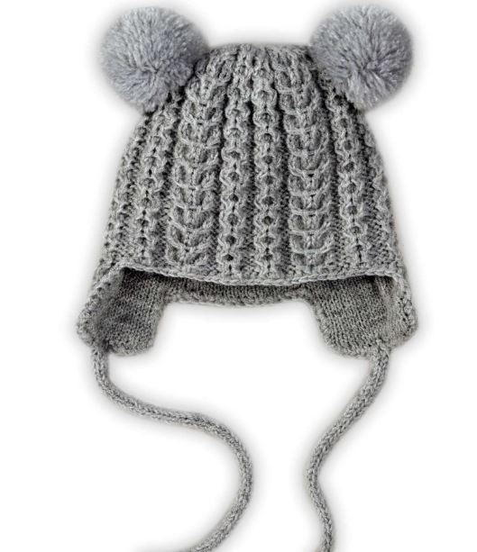 Knitting Pattern For Toddler Hat With Earflaps : Earflap Pom Pom Kids Hat AllFreeKnitting.com