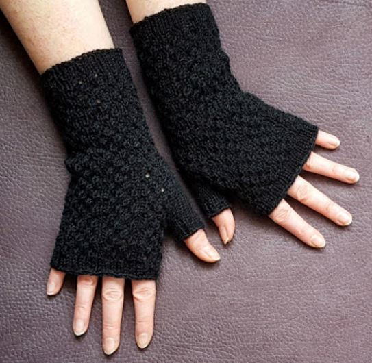 Loom Knit Fingerless Gloves Pattern : Black Lace Fingerless Gloves Knitting Pattern AllFreeKnitting.com