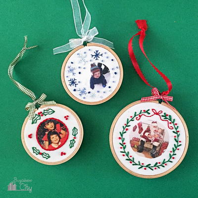 Embroidered Photo DIY Christmas Ornaments