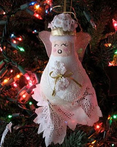 Lacey Light Bulb Angel Ornament