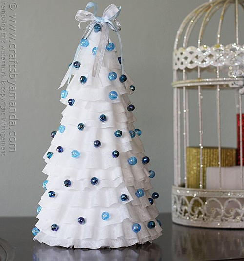 Blue and White Coffee Filter Craft Tree