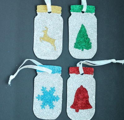 Glittery Mason Jar Christmas Ornaments To Make