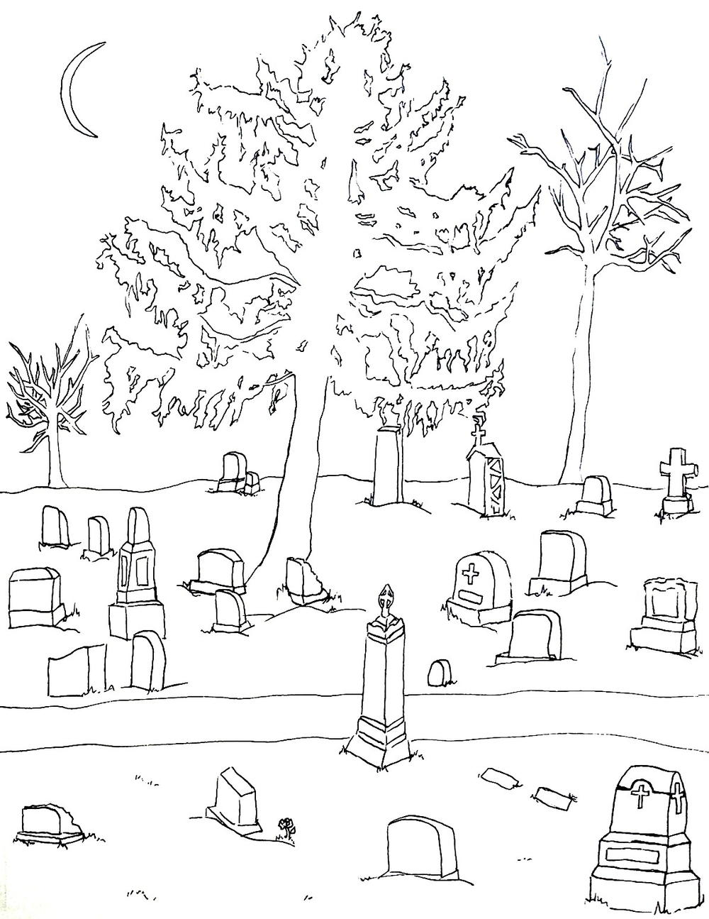 cemetery halloween coloring page favecrafts com