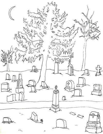 Cemetery Halloween Coloring Page