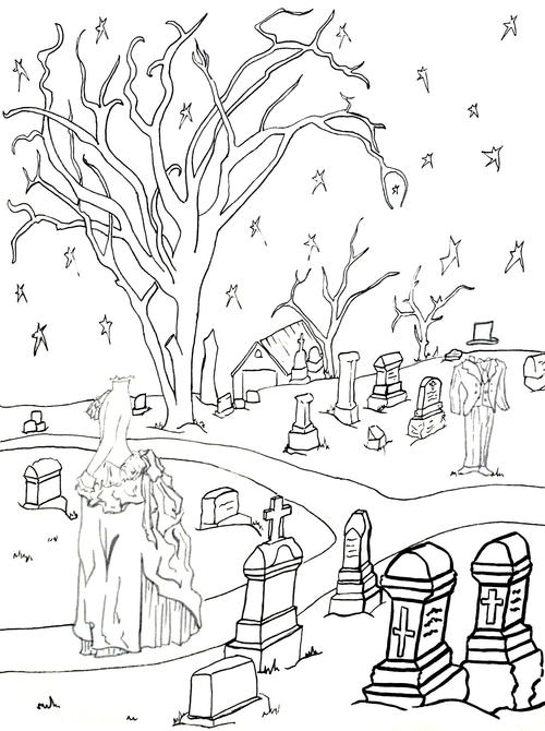 Ghostly Graveyard Coloring Page