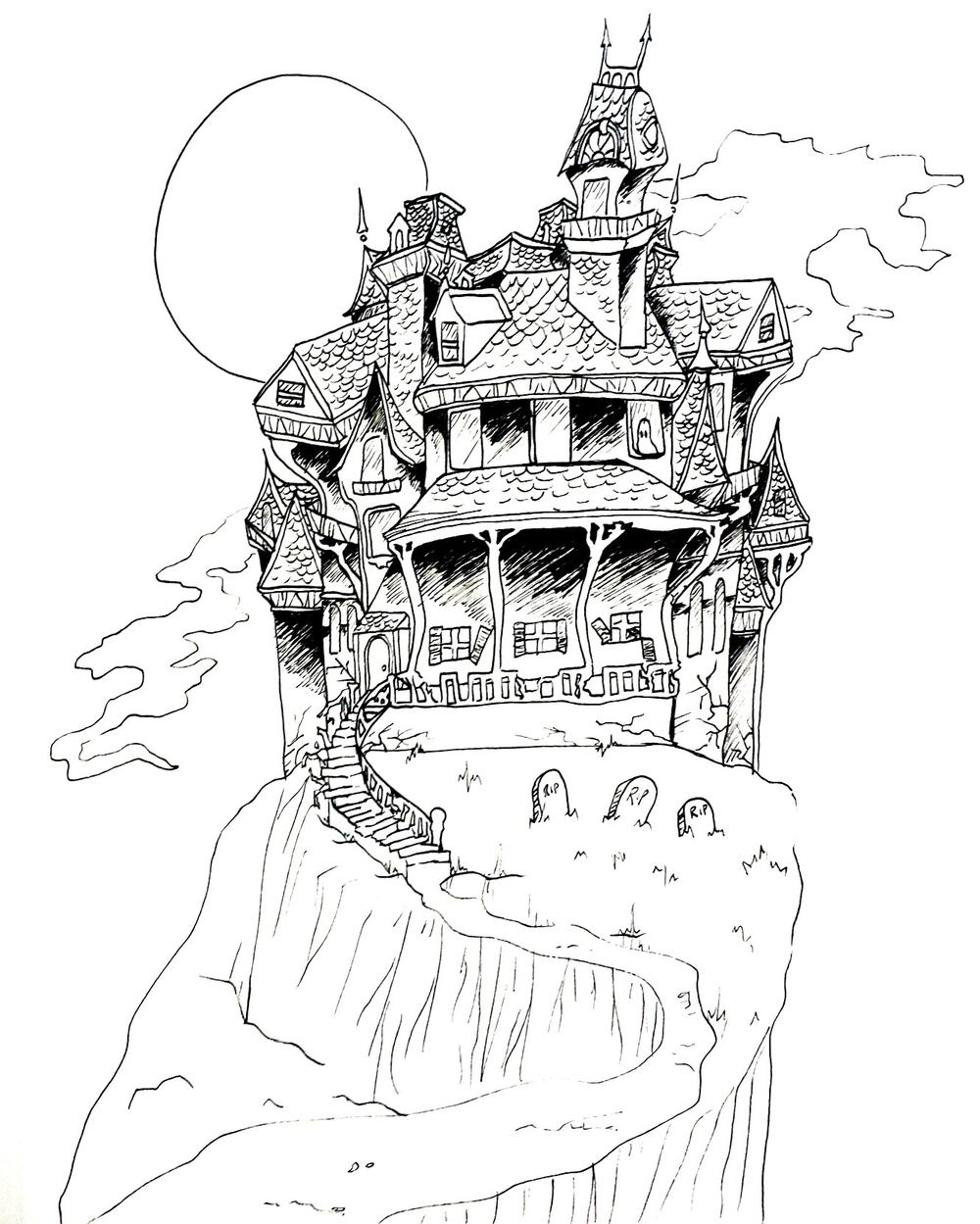 Haunted house coloring page for Halloween house coloring pages