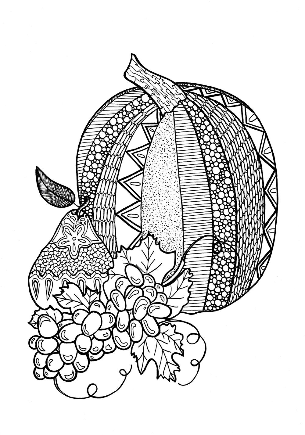 Textured pumpkin adult coloring page for Pumpkin coloring pages for adults