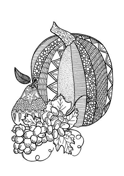 Allfreepapercrafts Com: Textured Pumpkin Adult Coloring Page