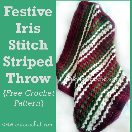 Festive Irish Stitch Striped Crochet Throw