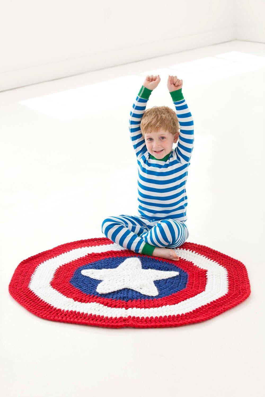 Captain America Inspired Crochet Blanket