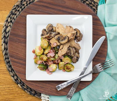 Mushroom Chicken Recipe with Roasted Brussels Sprouts