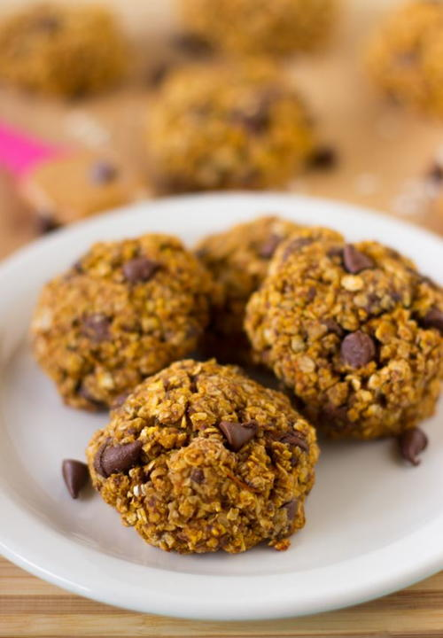 Pumpkin Chocolate Chip Oatmeal Breakfast Cookies