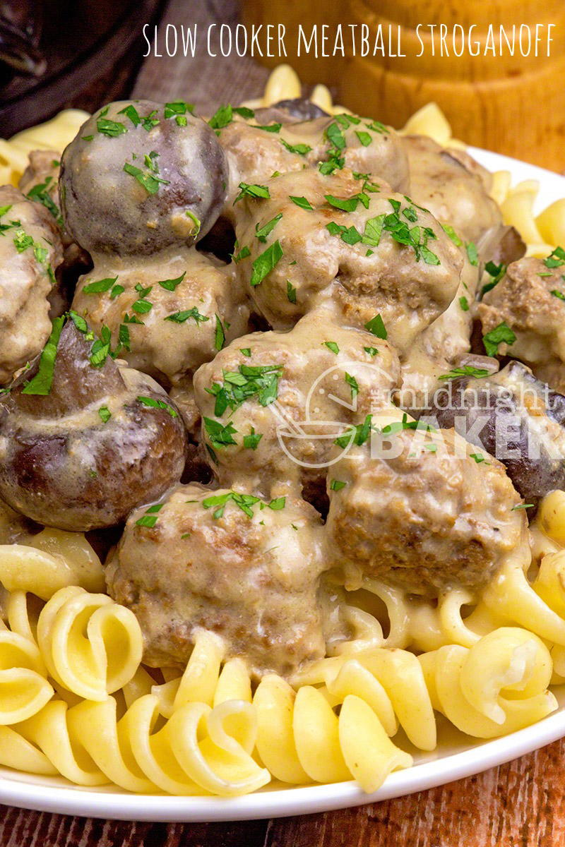 Easy Slow Cooker Meatball Stroganoff | FaveSouthernRecipes.com