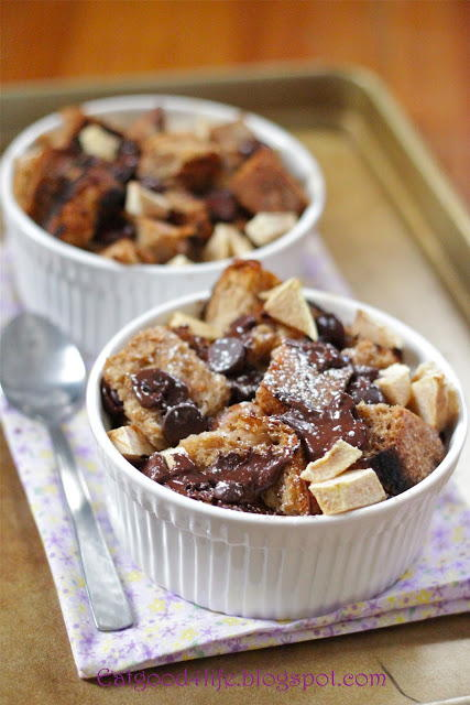 Dark Chocolate and Apple Bread Pudding