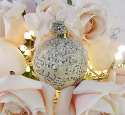 Vintage Book Page DIY Ball Ornament