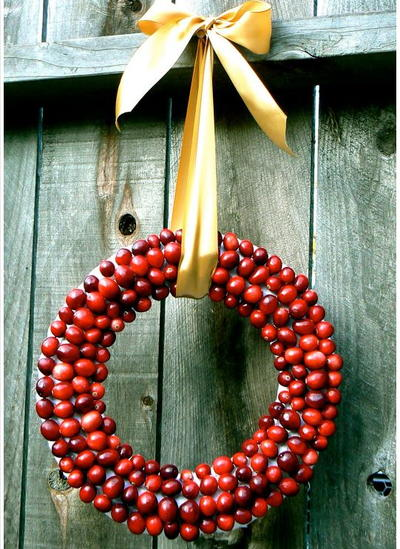 Cheerful Cranberry-Covered DIY Wreath