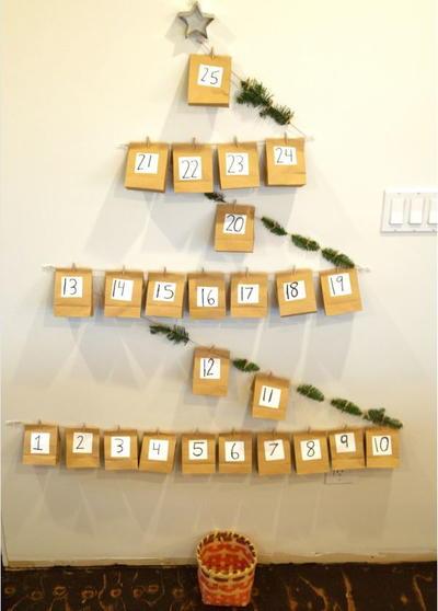 Paper Bag Christmas Tree DIY Advent Calendar