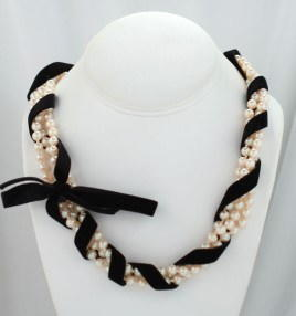 Velvet Ribbon and Pearl Necklace