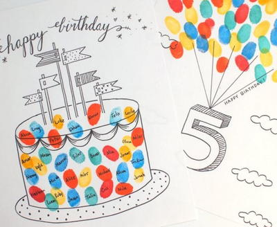 Fun Finger Printable Birthday Cards