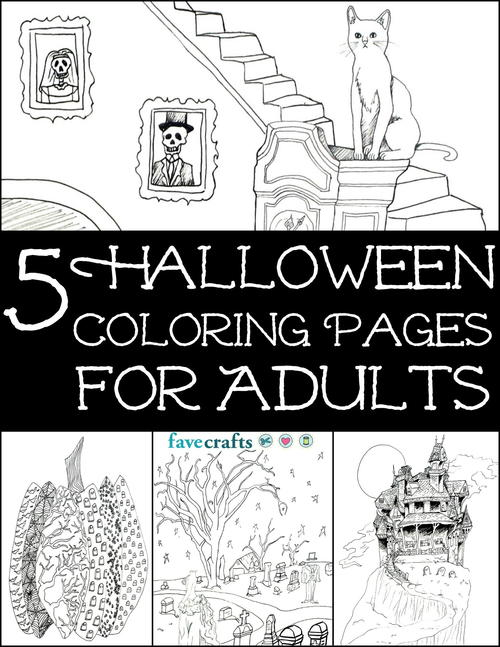 5 Halloween Coloring Pages for Adults free eBook
