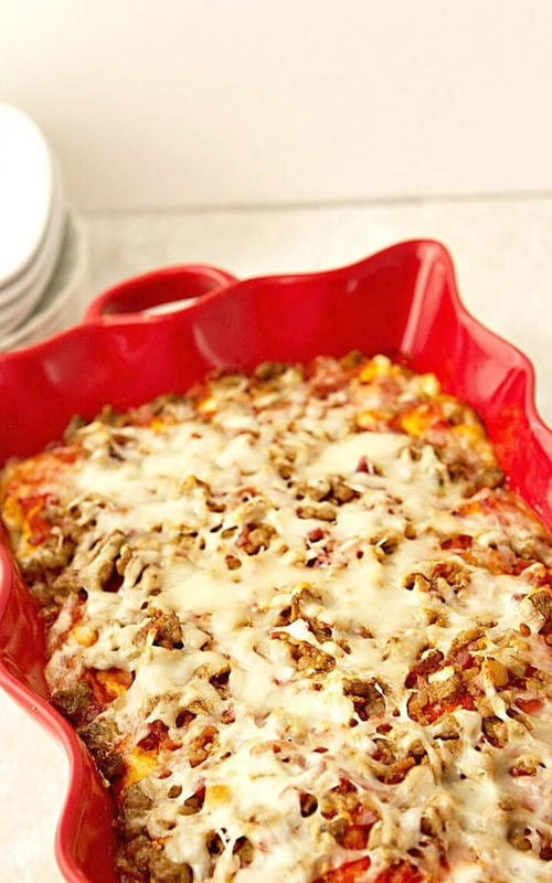 5-Ingredient Sausage Pizza Casserole