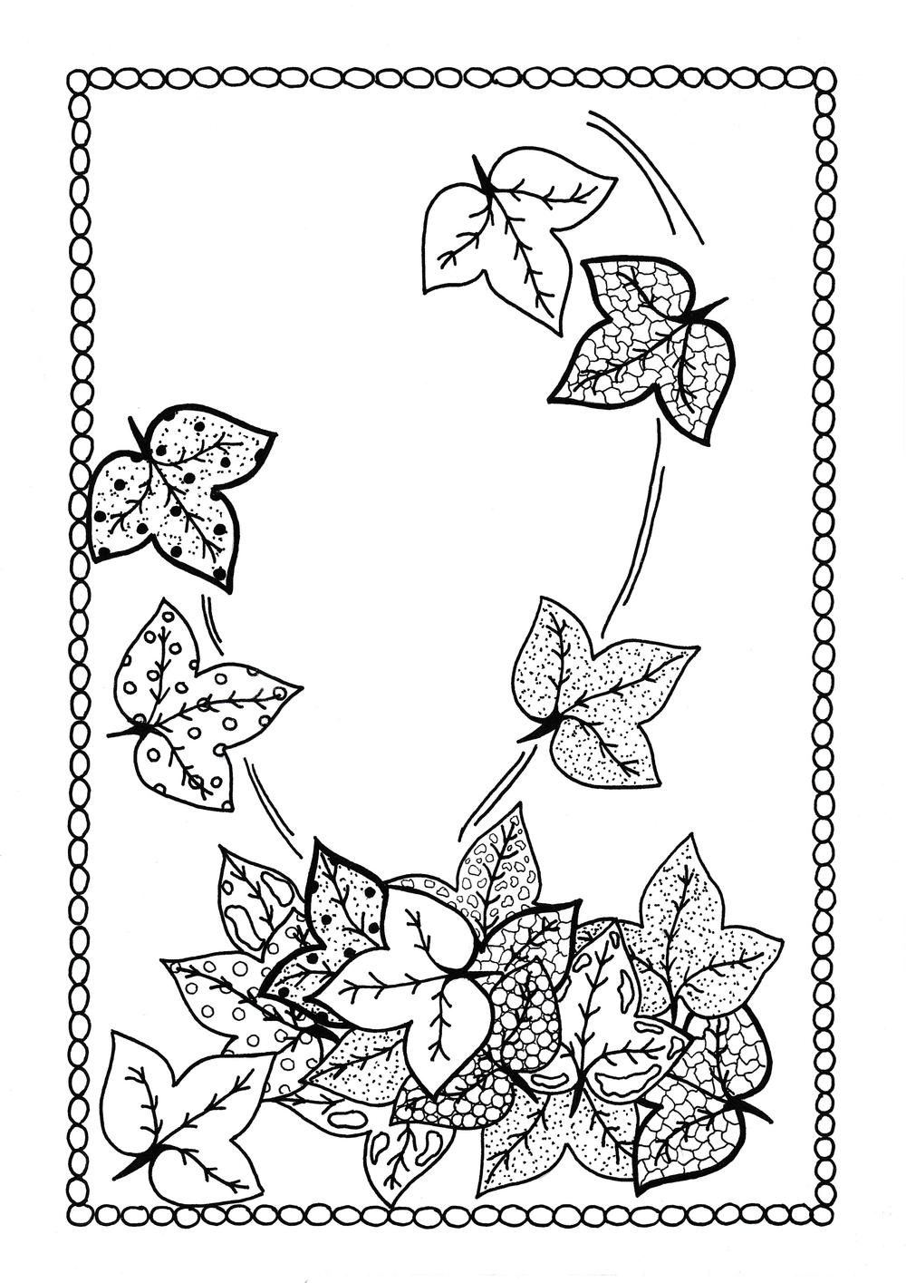 Windswept Autumn Leaves Fall Coloring Sheet