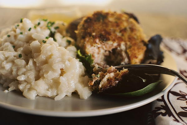 Salmon Cakes with Slow Cooker Parmesan Risotto