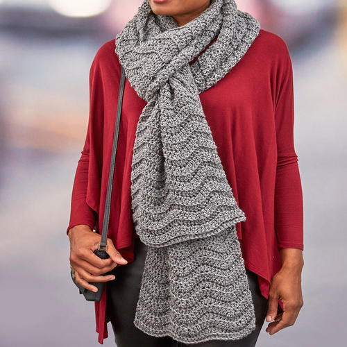 Heathered Waves Crochet Super Scarf