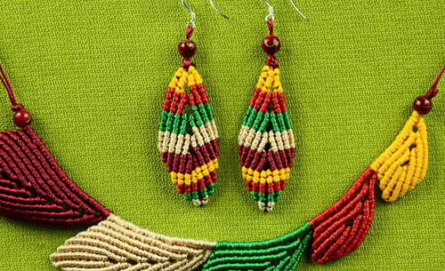 Multicolored Leaf Macrame Earrings