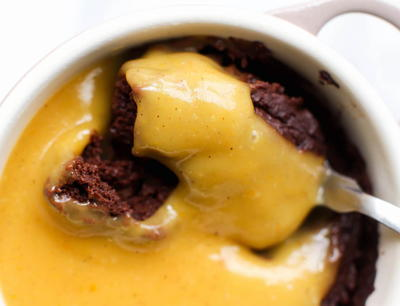 Flourless Chocolate Pudding Cake With Pumpkin Spice Custard