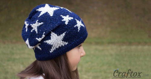 Slouchy Star Knit Beanie Pattern